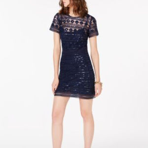 Michael Kors Sequined Lace Mini Dress True Navy 10